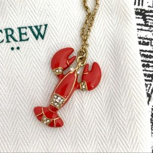 J. Crew Factory Red & Gold Lobster Enamel Necklace